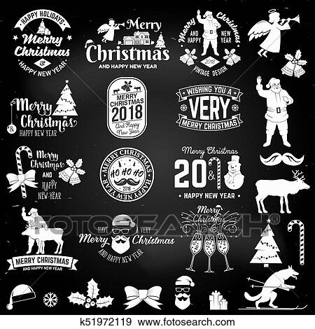 clip art merry christmas and happy new year 2018 retro template with santa claus