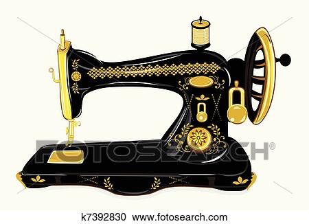 Old Sewing Machine Clipart K7392830 Fotosearch
