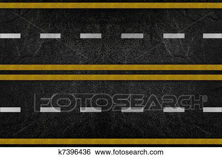 Pattern on road texture with yellow stripe Stock Illustration