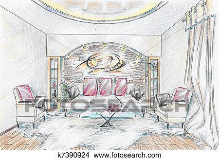 Schizzo di interno di disegno stanza disegni k7390924 for Disegno stanza