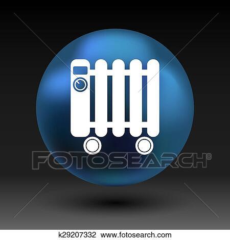 Clipart - typisch, heizung, gefüllt, heizkörper, symbol, symbol ...