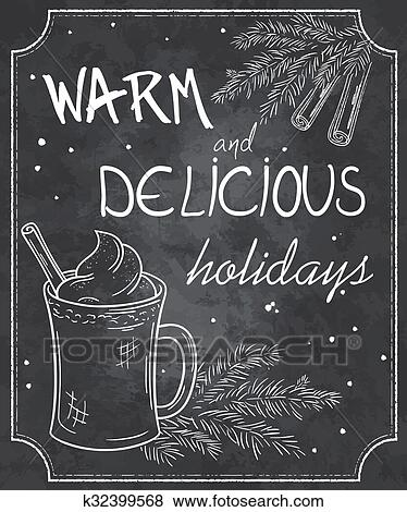 Vecteur Illustration De Tableau Style Noël Citation à Grands Traits De Tasse De Eggnog Branche De Arbre Noël Cannelle Et Flocons