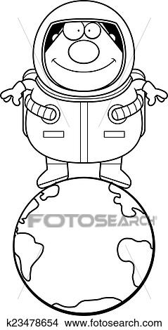 clipart of cartoon astronaut earth k23478654 search clip art