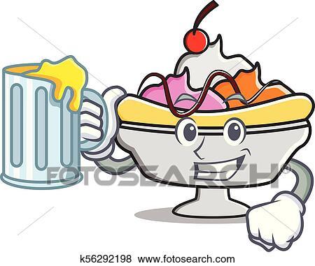 clip art of juice banana split mascot cartoon k56292198 search rh fotosearch com banana split clipart black and white banana split bowl clipart