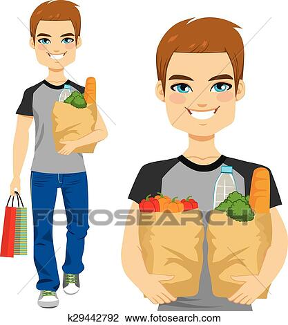 clipart of man carrying grocery bag k29442792 search clip art rh fotosearch com