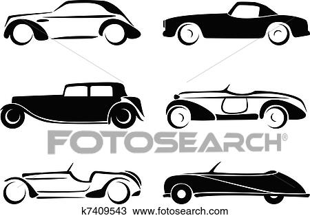 Clipart of Old cars silhouettes set vector. k7409543 - Search Clip ...