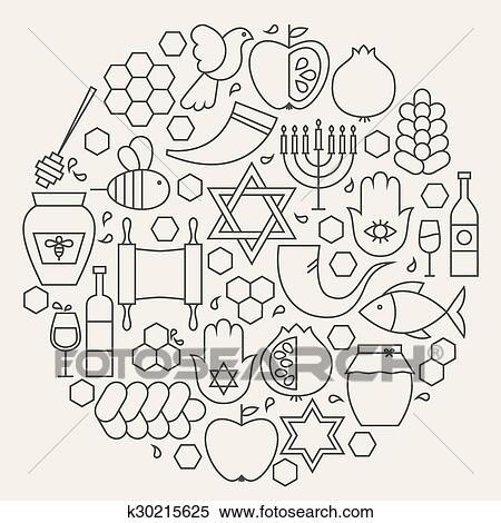 Clipart - rosh hashanah, feriado, línea, iconos, conjunto, circular ...
