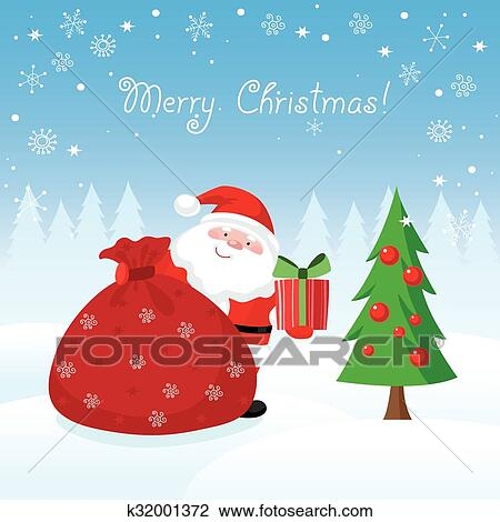 Clipart Of Santa Claus With Gifts Christmas Card K32001372 Search
