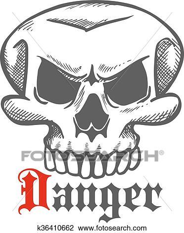 Clipart هالويين روح حيوان مخيف الجمجمة رسم رمز K36410662