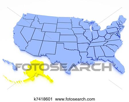 3D map of United States - State Alaska Clip Art | k7418601 | Fotosearch
