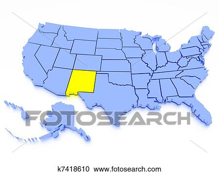 3D map of United States - State California Clipart ...