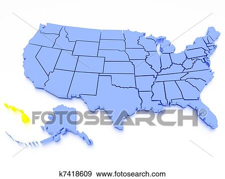 3D map of United States - State Hawaii Stock Illustration ...