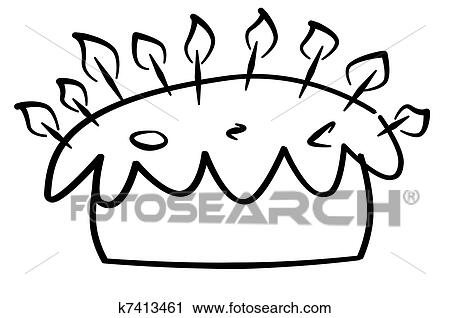 Clipart Of Birthday Cake K7413461 Search Clip Art Illustration