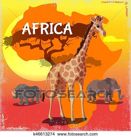 Cartone animato selvatico africano animali concetto clipart