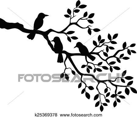Dessin Anime Branche Arbre A Oiseau Silho Clipart K25369378