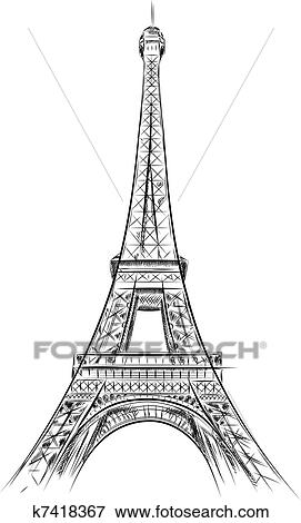 Clip Art Of Eiffel Tower K7418367 Search Clipart Illustration