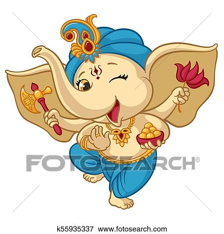 Clip art of ganesha elephant cartoon baby vector illustration for isolated happy baby ganesha elephant in traditional indian clothes for ganesha chaturthi holiday greeting card design m4hsunfo