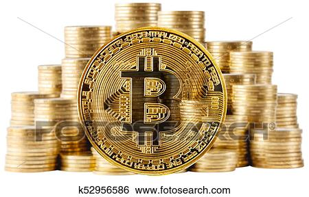 Gold Bitcoin On A Background Of Rising Columns Of Coins Stock Photograph