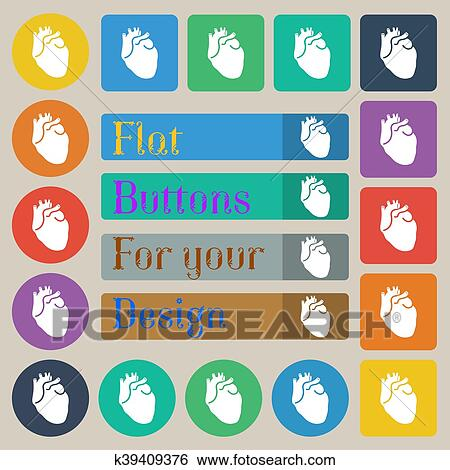 Human heart icon sign  Set of twenty colored flat, round, square and  rectangular buttons  Vector Clip Art