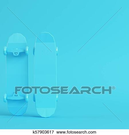 677adead Stock Illustration - Low poly skateboard deck on bright blue background in pastel  colors. Fotosearch