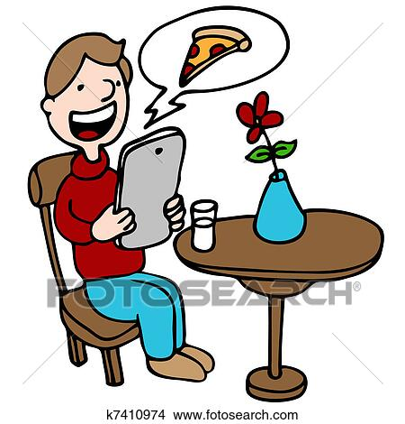 Man Ordering Pizza With His Digital Device at a Restaurant ...