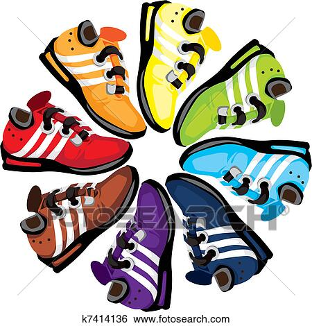 stock illustration of rainbow wheel shoes k7414136 search clip art