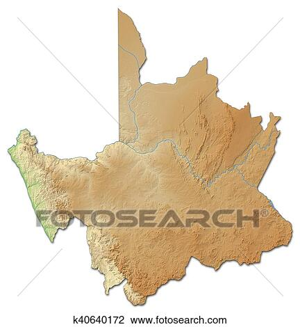 Map Of Africa 3d.Clip Art Of Relief Map Northern Cape South Africa 3d Rendering