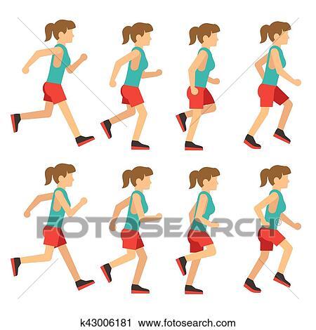 Clipart of Running woman, female runner animation frame loop ...