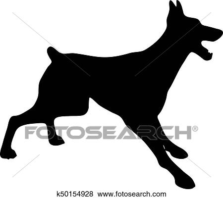 clip art of silhouette of a dog vector illustration of doberman rh fotosearch com dog vector free dog vector free download