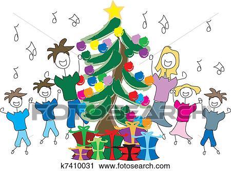 Christmas Carols Clipart.Singing Christmas Carols Clipart
