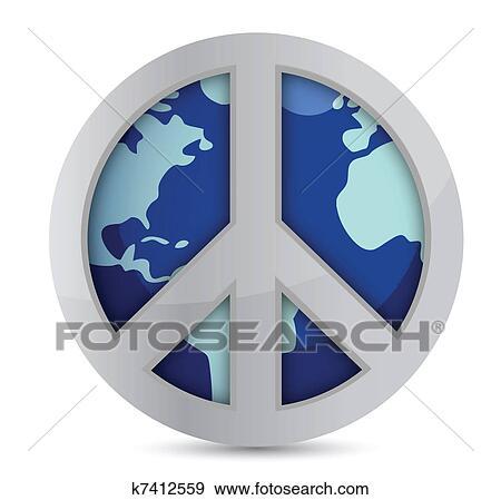 Clip Art Of World Peace Symbol K7412559 Search Clipart