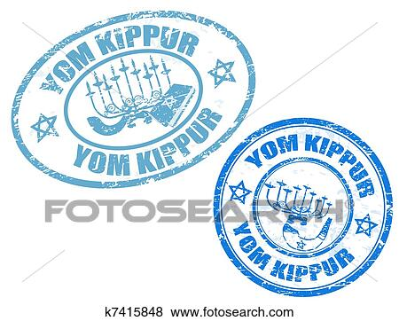 Clip Art Of Yom Kippur Stamps K7415848 Search Clipart