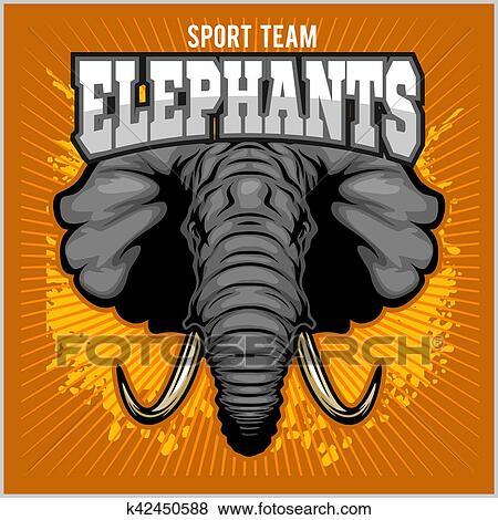 Éléphants, -, sport, club, équipe, symbole., safari, chasse, écusson