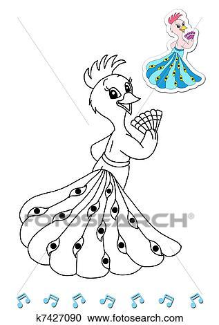 Colección de ilustraciones - animales, a, ser, color, el, pavo real ...