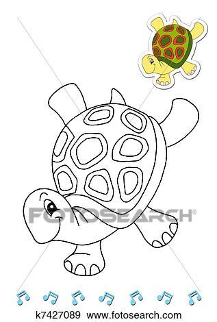 Colección de ilustraciones - animales, a, ser, color, el, tortuga ...