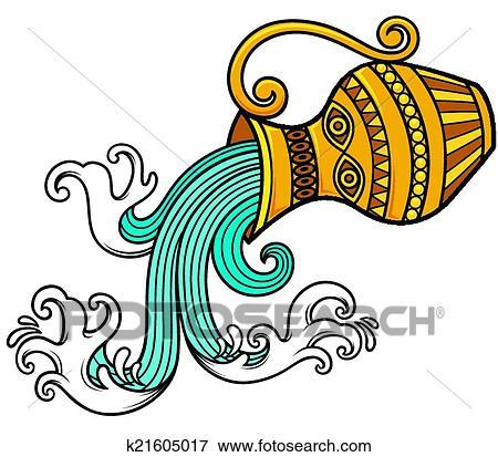 Disegno Acquario Segno Zodiacale.Aquarius Zodiac Clip Art K21605017 Fotosearch