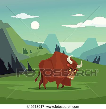 Arrabbiato toro carattere pascolo in field vettore
