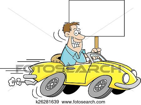 Clip Art of Cartoon man driving a car and holdi k26281639 ...
