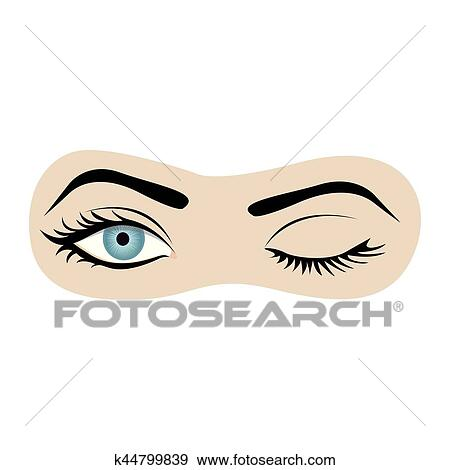 clip art of color silhouette with wink woman eye k44799839 search rh fotosearch com Lady Winking Eye Clip Art Lady Winking Eye Clip Art