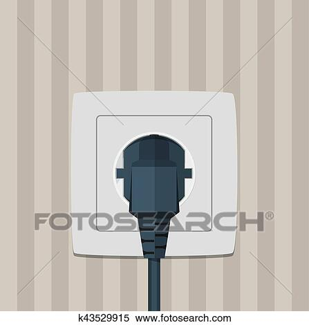 Clipart Of Electric Plug And Socket On A Wall K43529915 Search