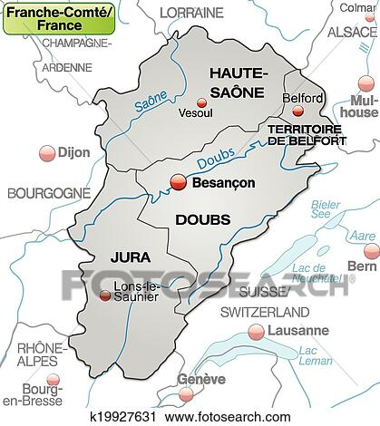 Map of Franche-Comte Clipart