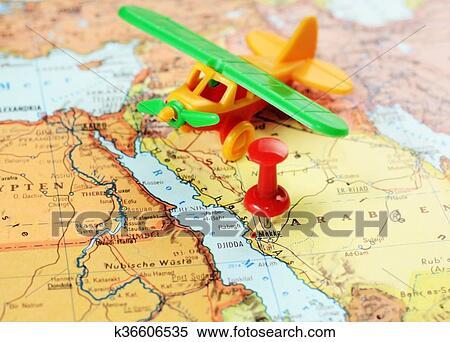 Mecca, Saudi Arabia airplane map Stock Photography
