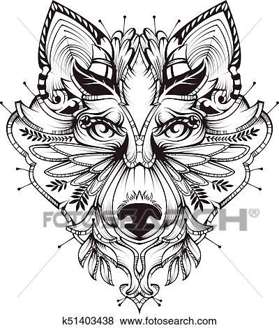 clipart - résumé, chien, tête, tatouage, illustration k51403438