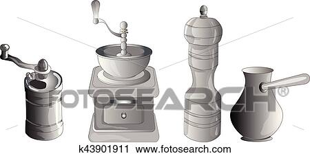 Antique Coffee Grinder stock vector. Illustration of retro - 39419785