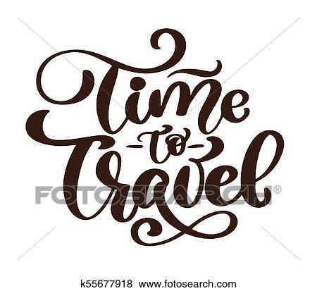 Vindima Mão Desenhado Tempo Viajar Vetorial Lettering