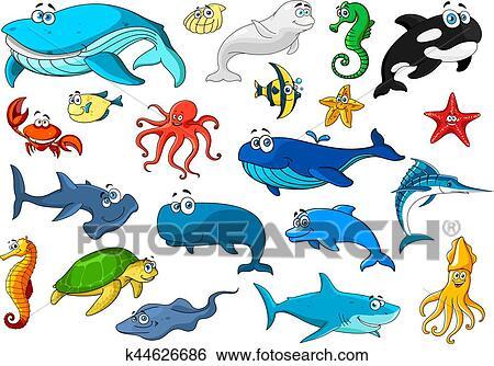 Clip art animale marino isolato cartone animato icona - Clip art animali marini ...