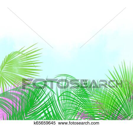 Background Or Header Of Tropical Leaves And Flowers Stock Illustration K65659645 Fotosearch Blue, red, and pink swiss cheese leaves print textile. fotosearch