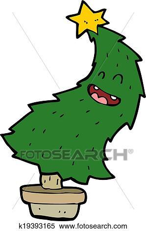 cartoon dancing christmas tree