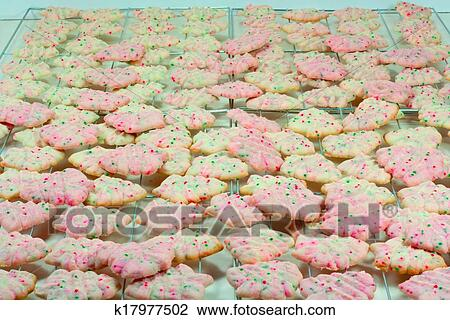 Christmas Tree Spritz Cookies Stock Image