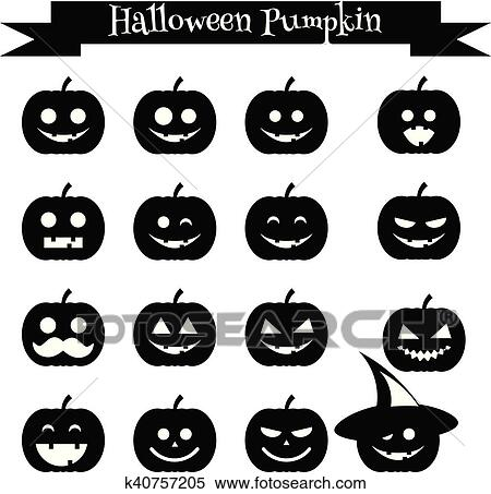 Clipart - lindo, halloween, calabaza, emoji, iconos, set., emoticons ...